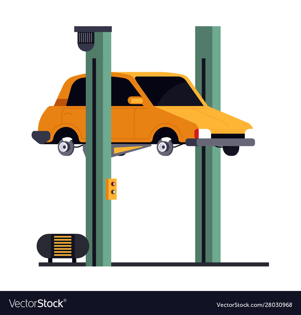 Vehicle lift car repair service isolated icon