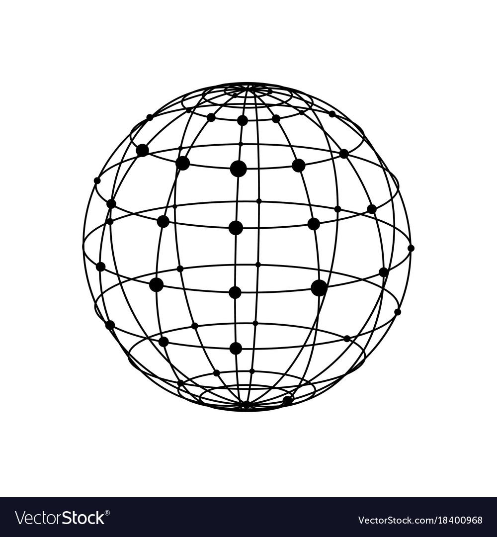Wireframe sphere with dots Royalty Free Vector Image
