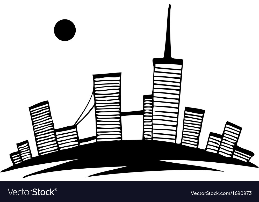Black and white silhouette of city simple drawing