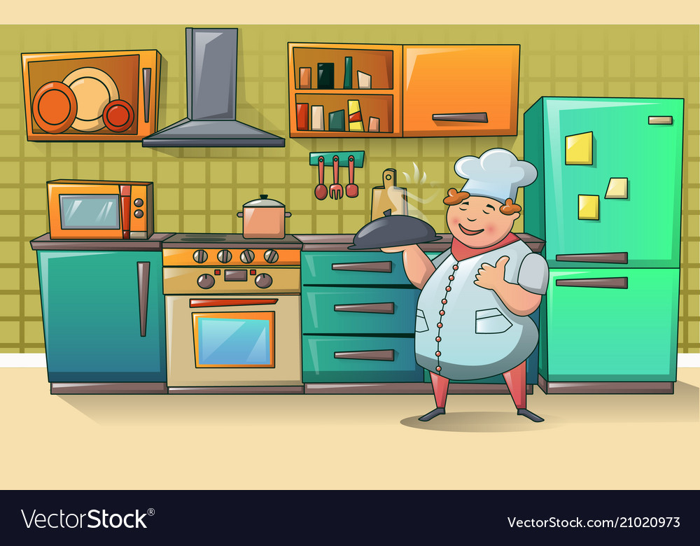 Cooker chef character banner cartoon style