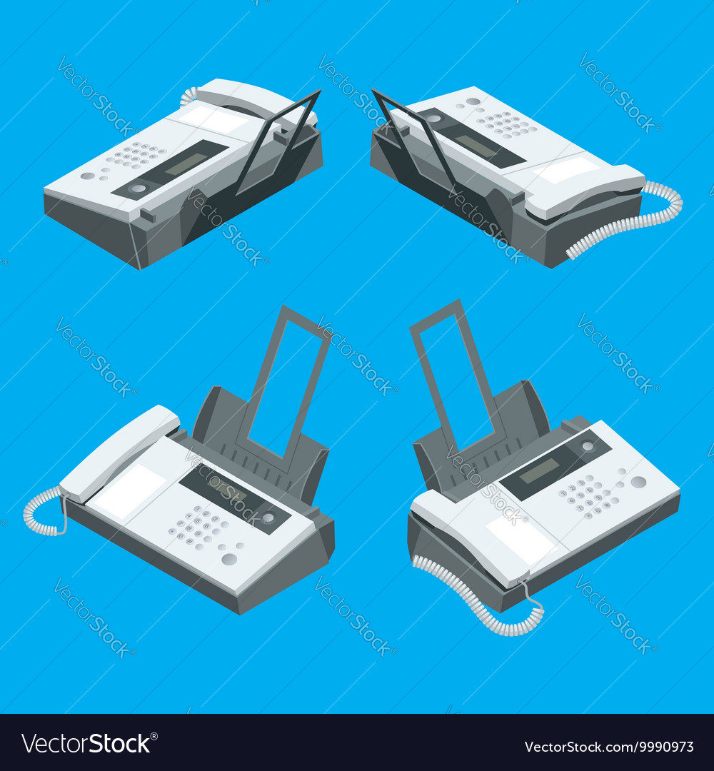 Fax machine office equipment Flat 3d