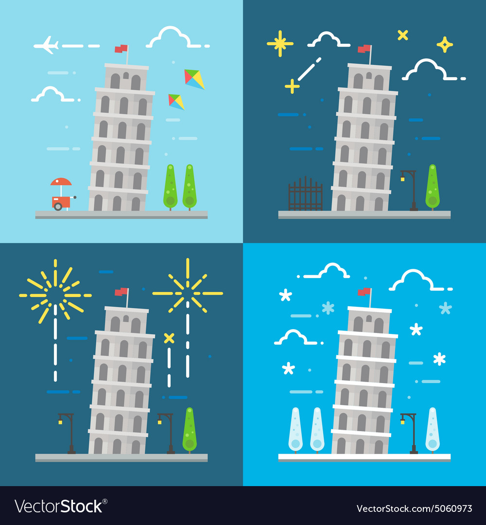 Flat design of 4 styles leaning tower of Pisa Ital