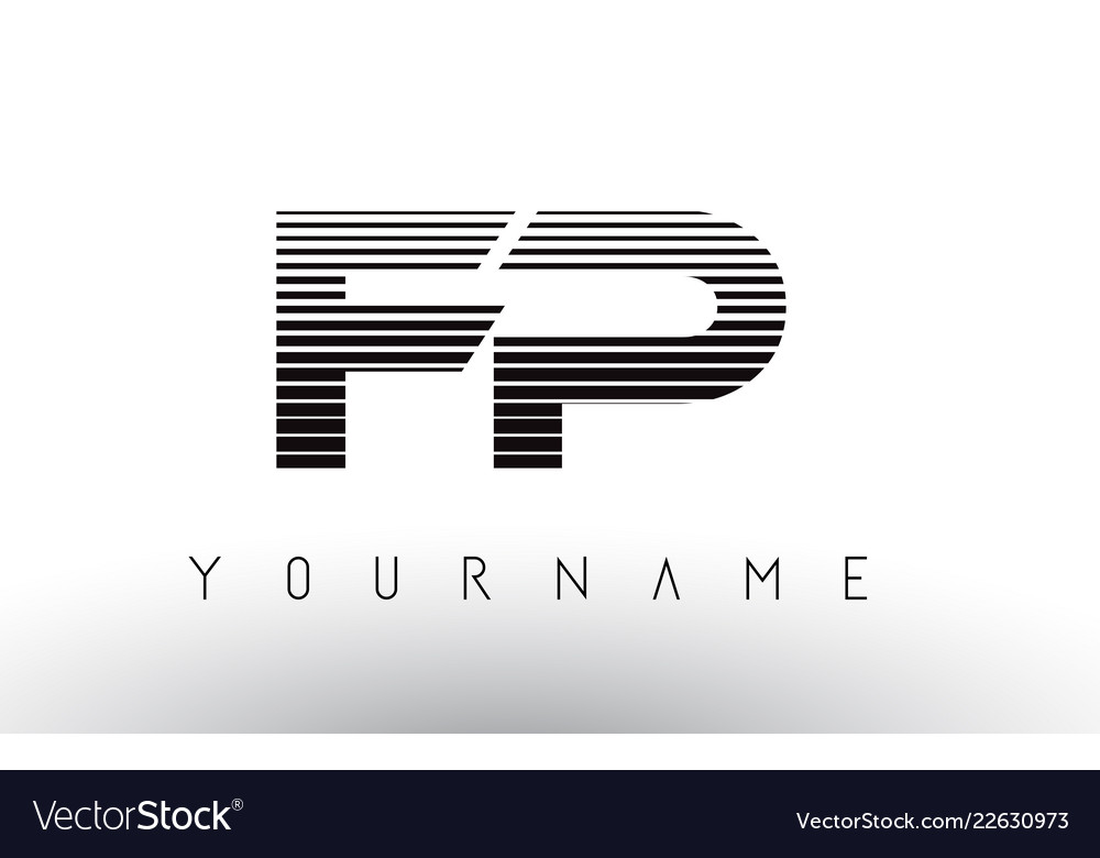 Fp f p black and white horizontal stripes letter