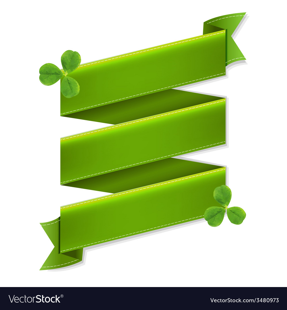 Green Ribbon Banner With Leaves vector image