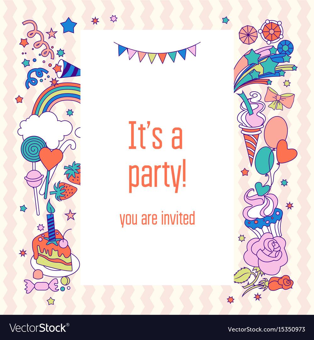 Happy holiday card with rainbow ice-cream cloud