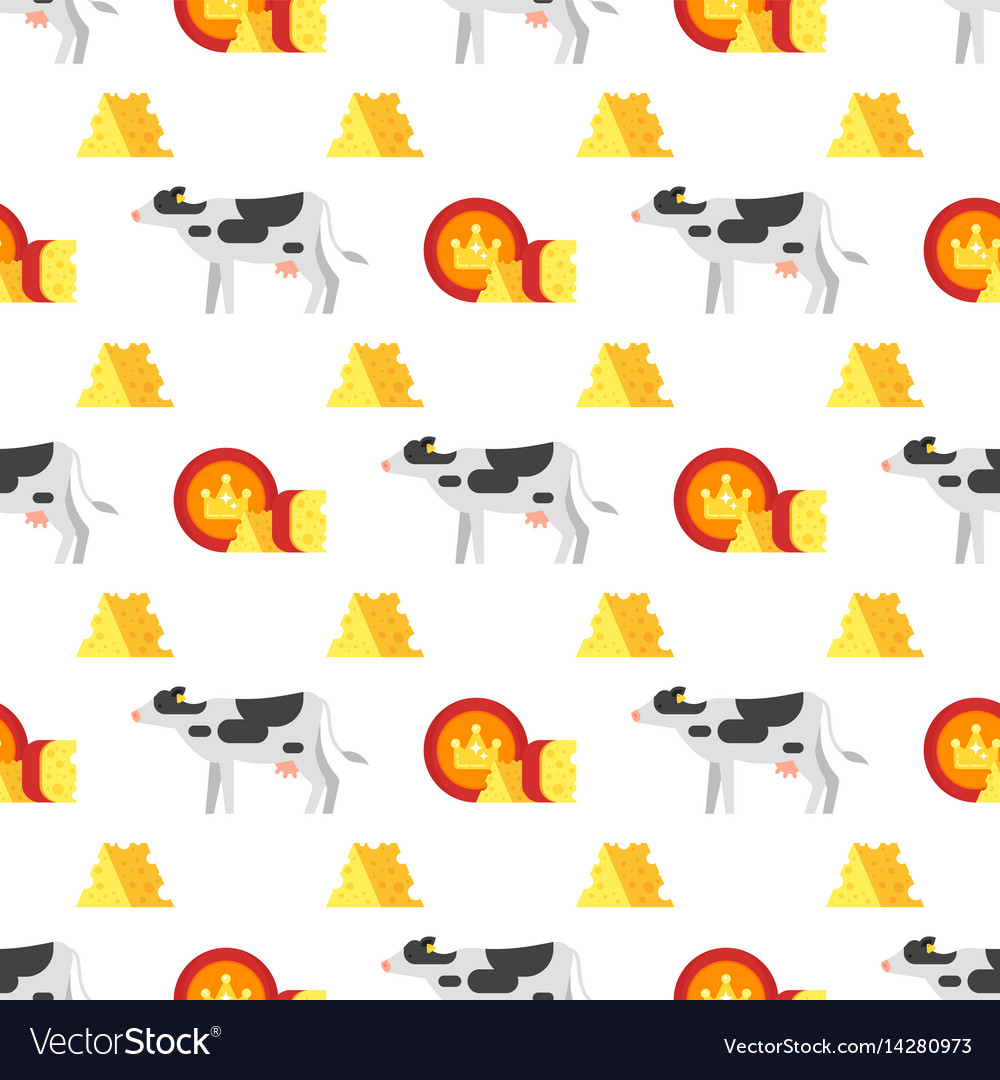 Seamless pattern with cheese and cow