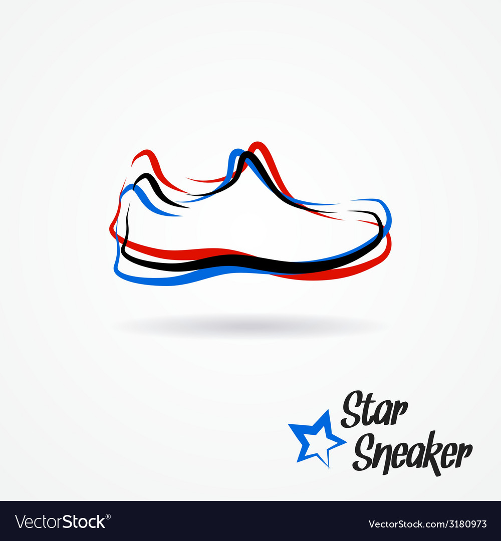 Star sneaker logo Royalty Free Vector