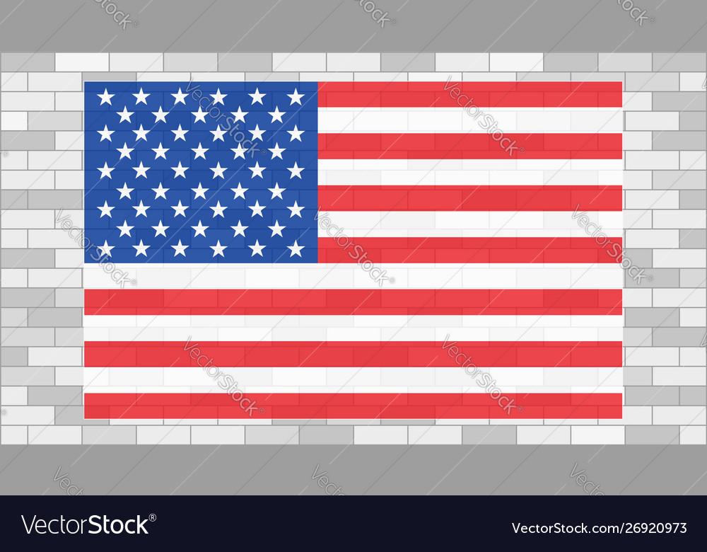 Usa flag on grey brick wall