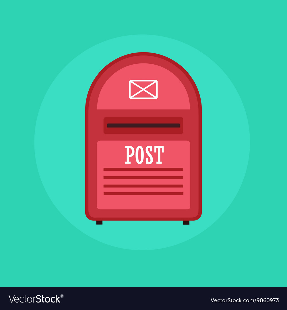 Vintage red Mail box post icon Flat design