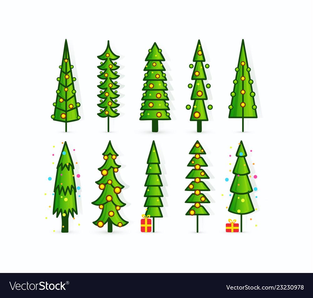 Christmas tree icons set outline pines
