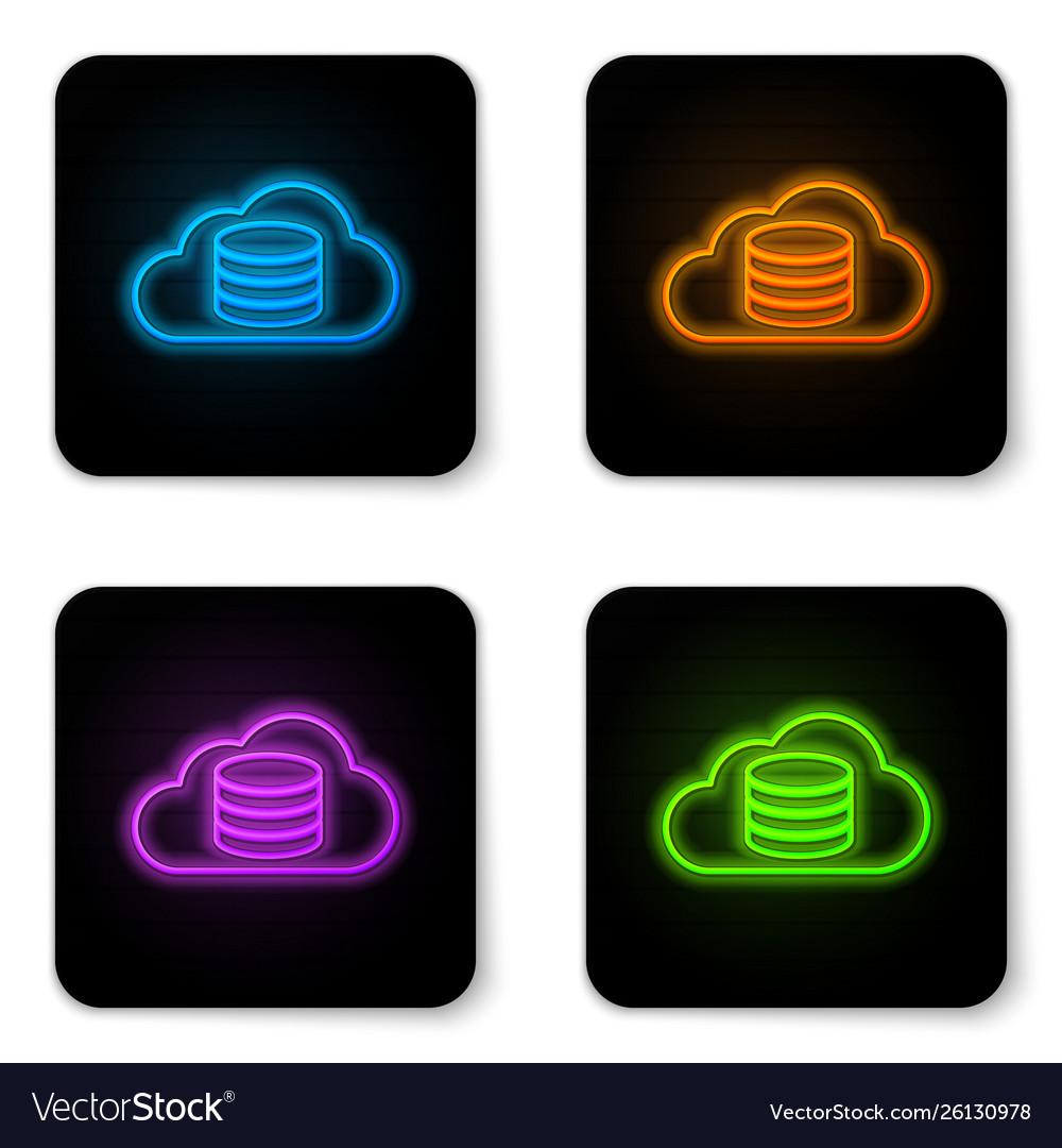 Glowing neon cloud database icon isolated on