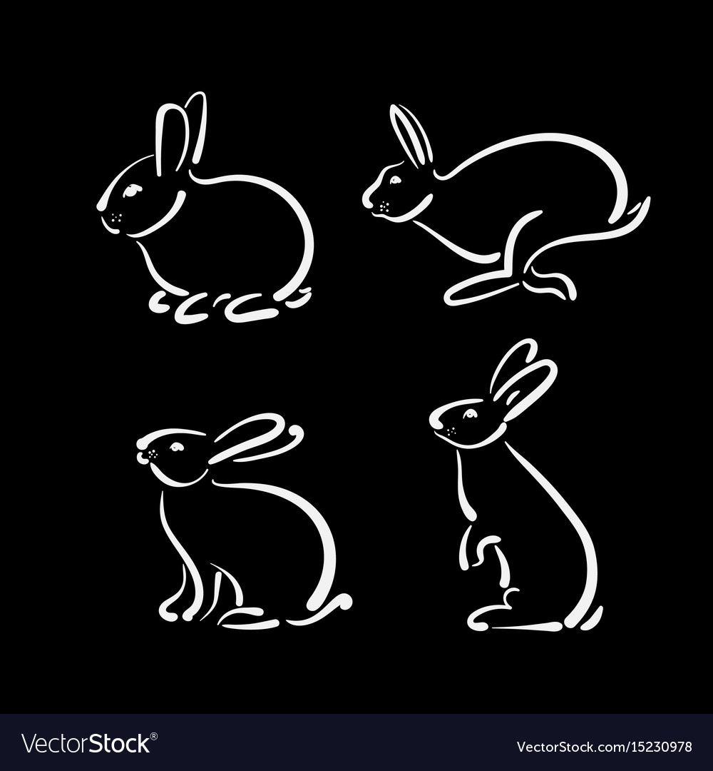 Group of hand drawn rabbit on black background