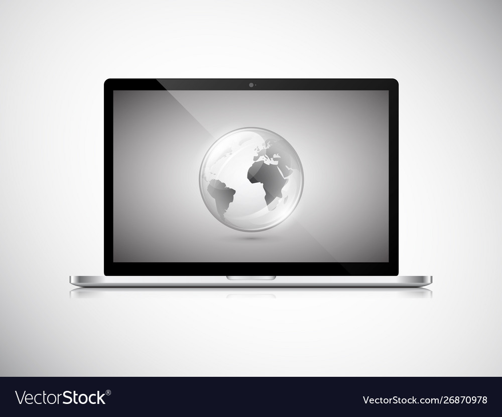 Laptop with earth globe on screen