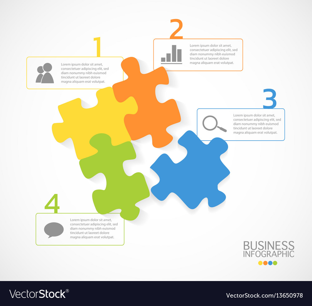 Modern business infographic puzzle 4 options