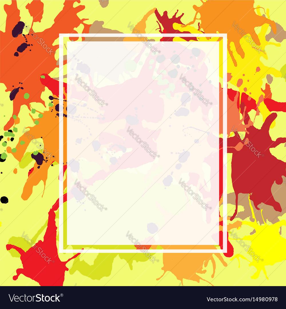 Red orange maroon ink splashes ellipse frame vector image