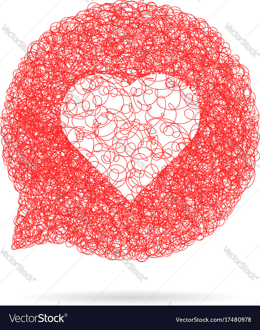 Red sketch speech bubble with heart