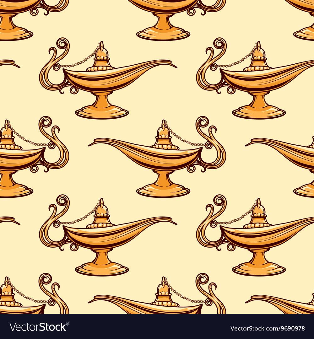 Seamless pattern of gold aladdin lamp