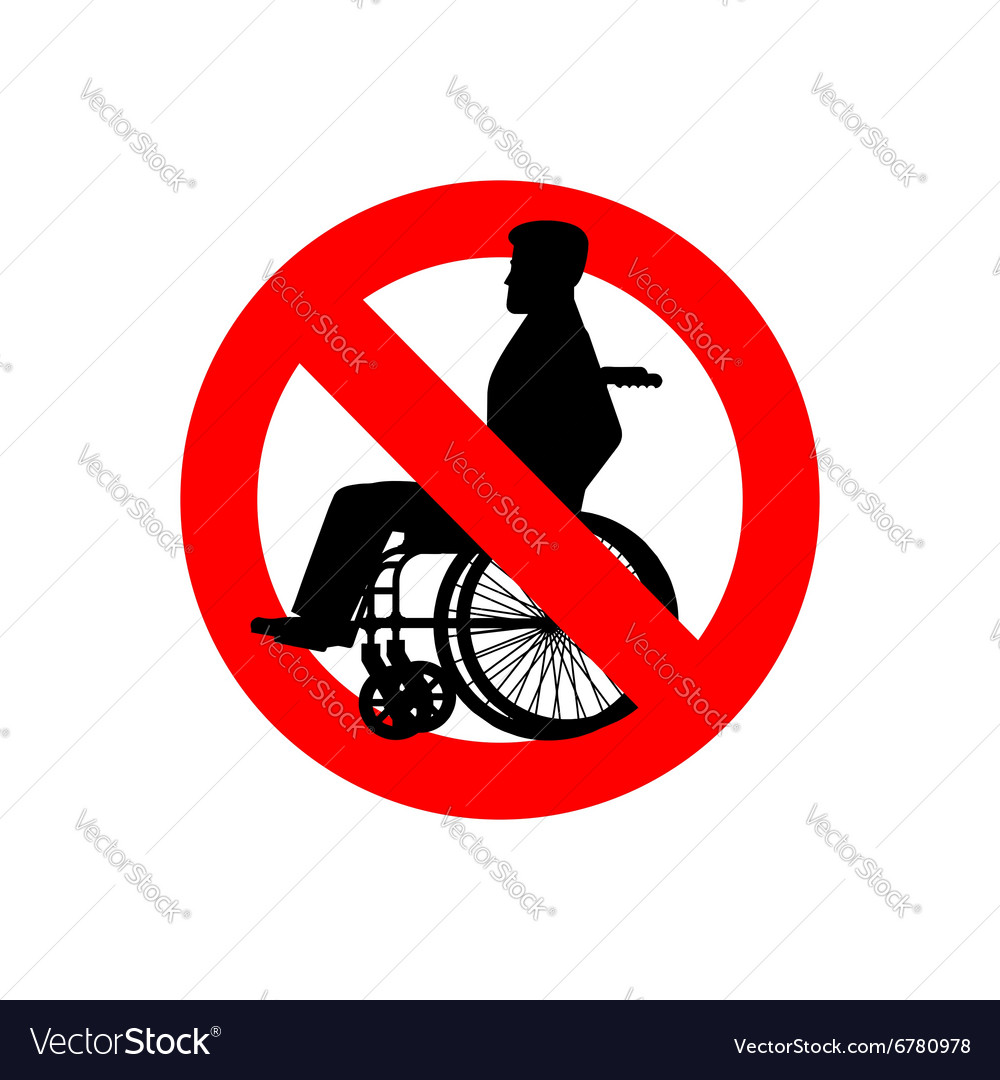 Stop disabled Prohibited person on wheelchair Ban