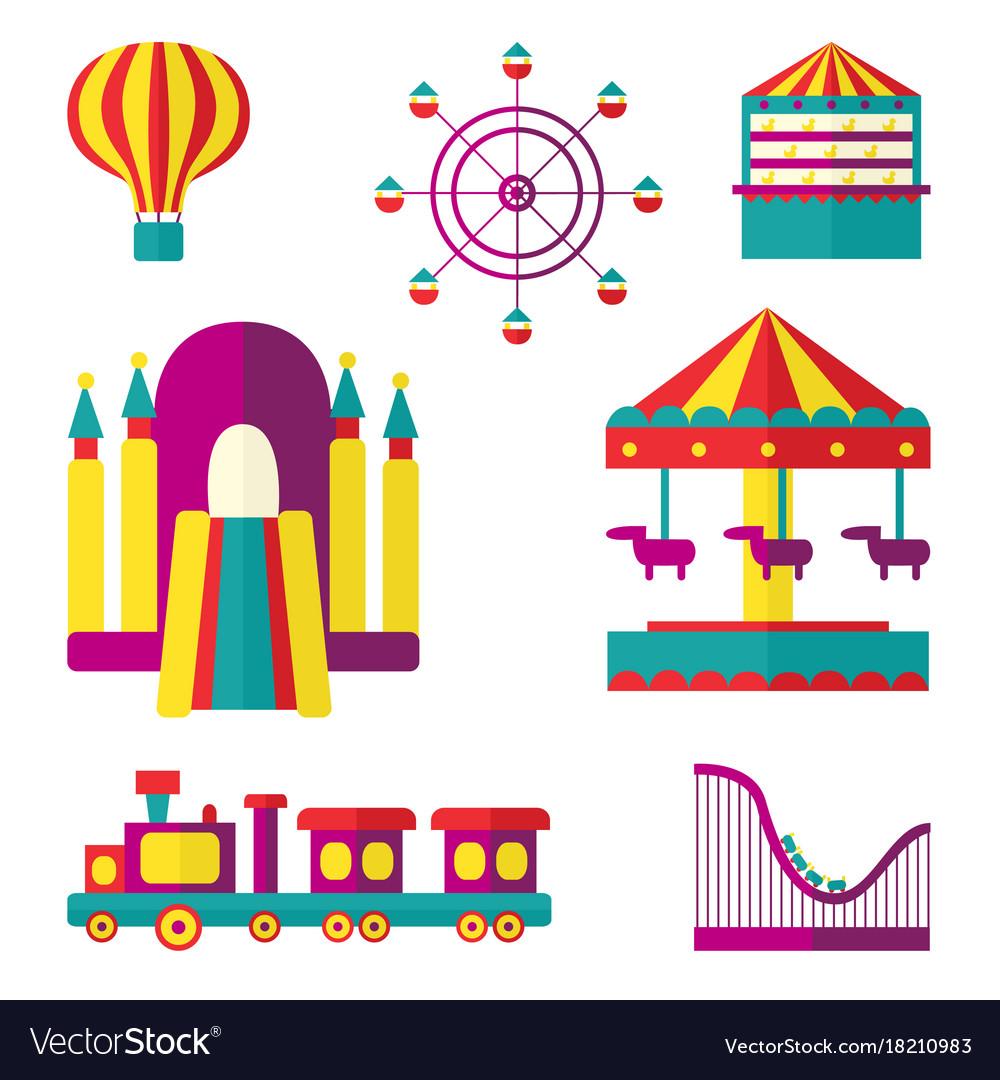 Amusement park set flat style