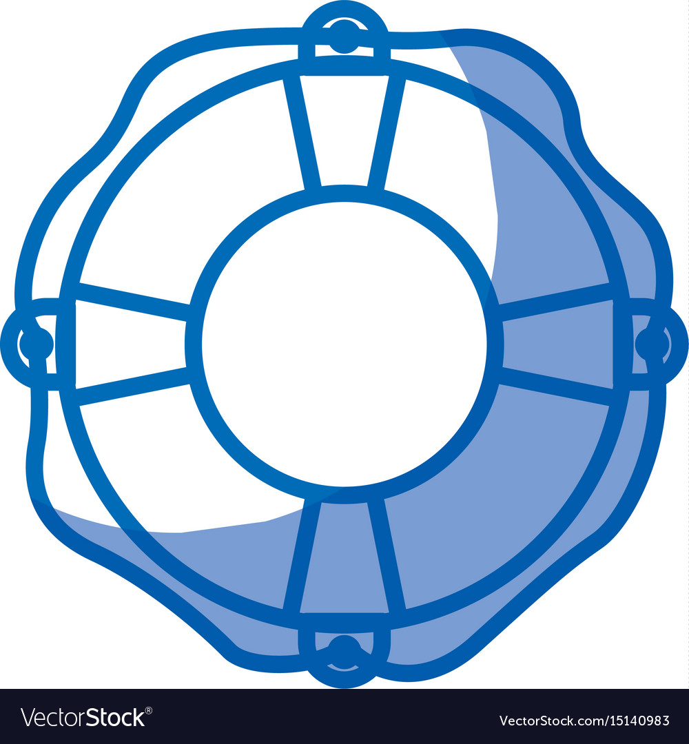 Blue shading silhouette of flotation hoop with vector image