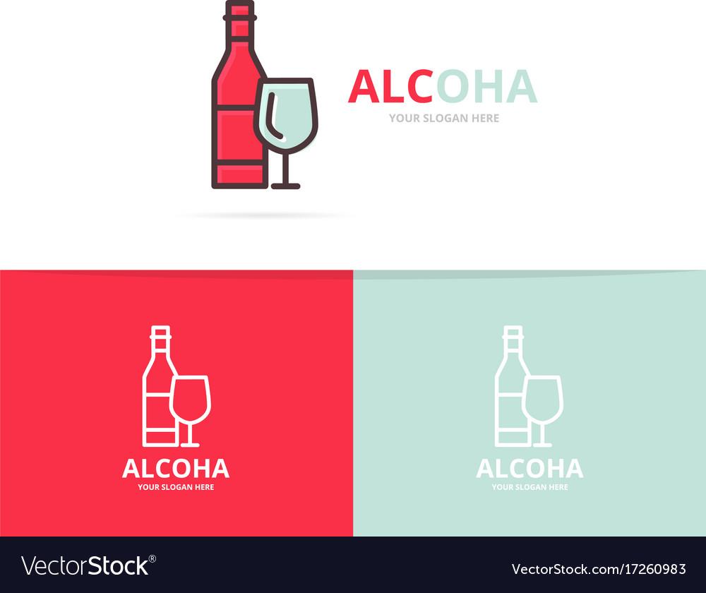 Bottles of wine logo design template