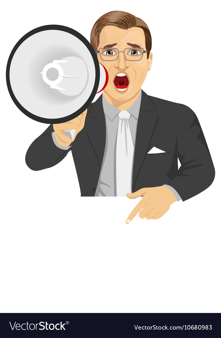 Businessman shouting with megaphone