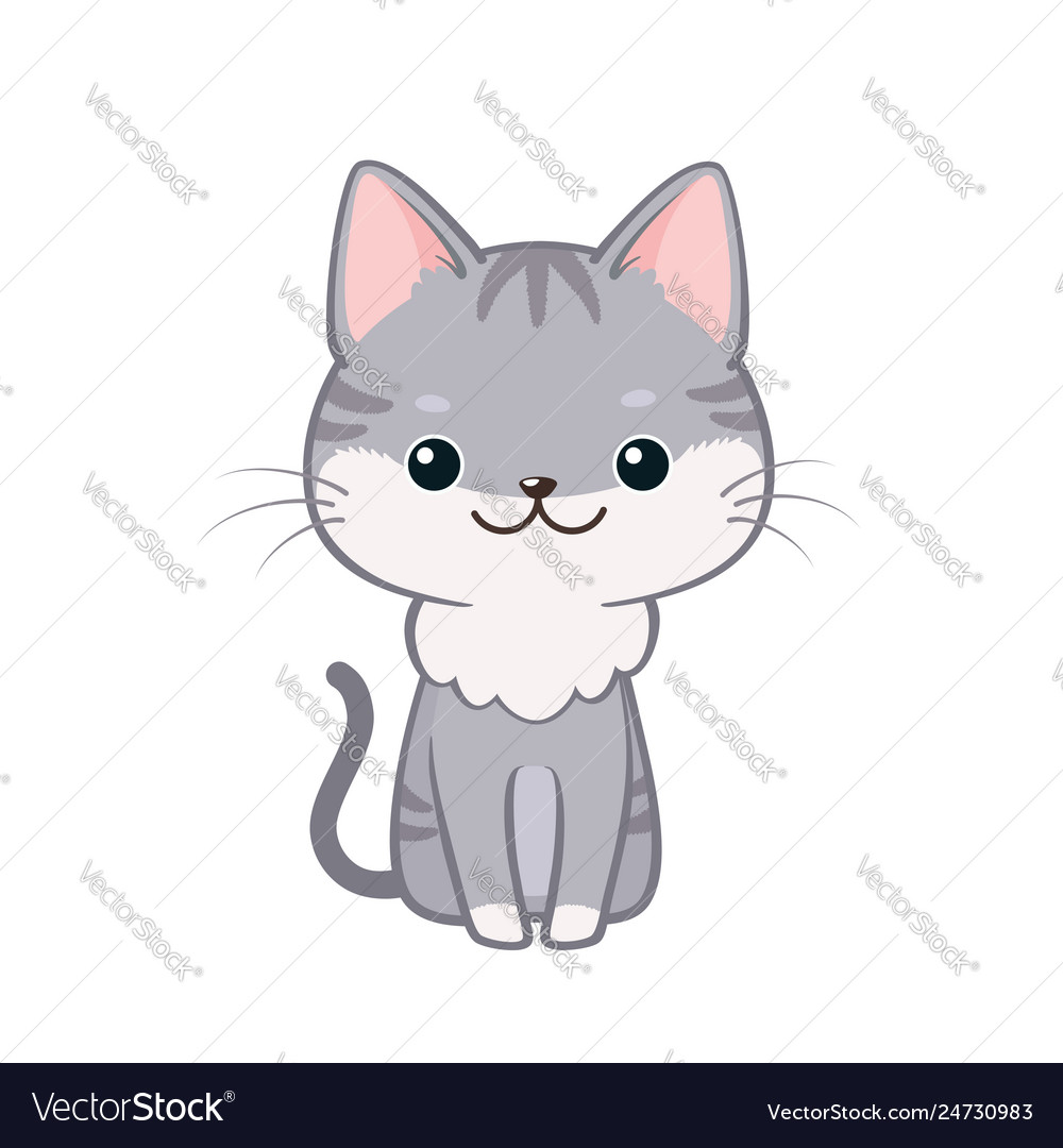 Cute Cartoon Cat Sitting And Smiling Royalty Free Vector