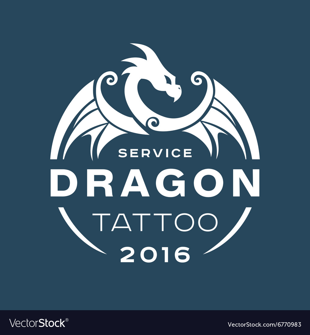Dragon logo tattoo service in style flat of