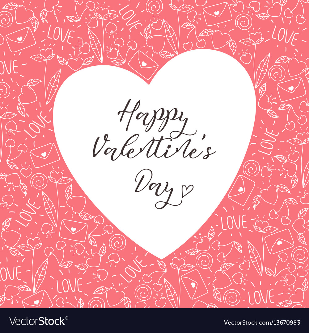 Happy valentines day greeting card in pink color vector image m4hsunfo