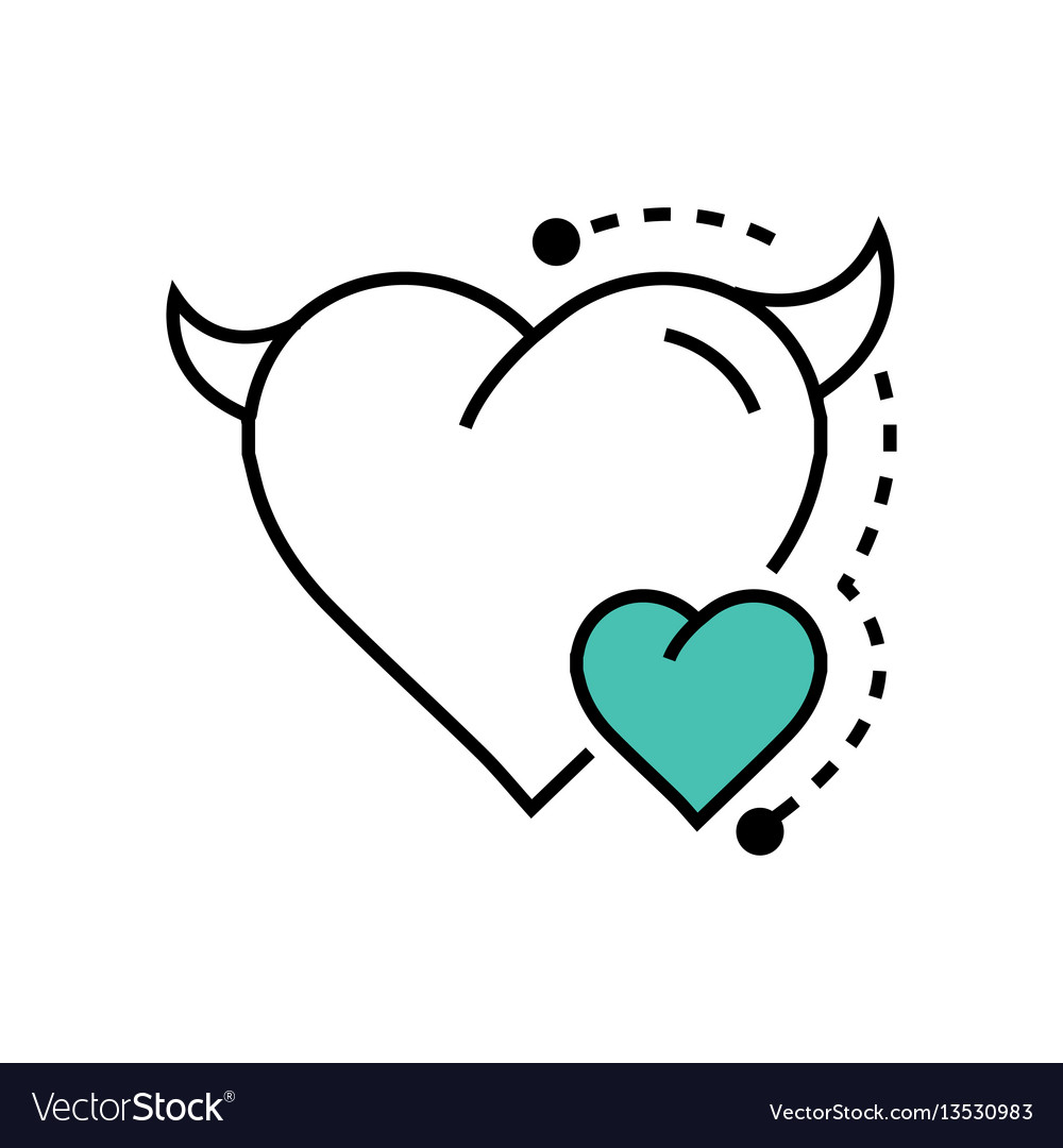 Line icon style heart devil color blue vector image