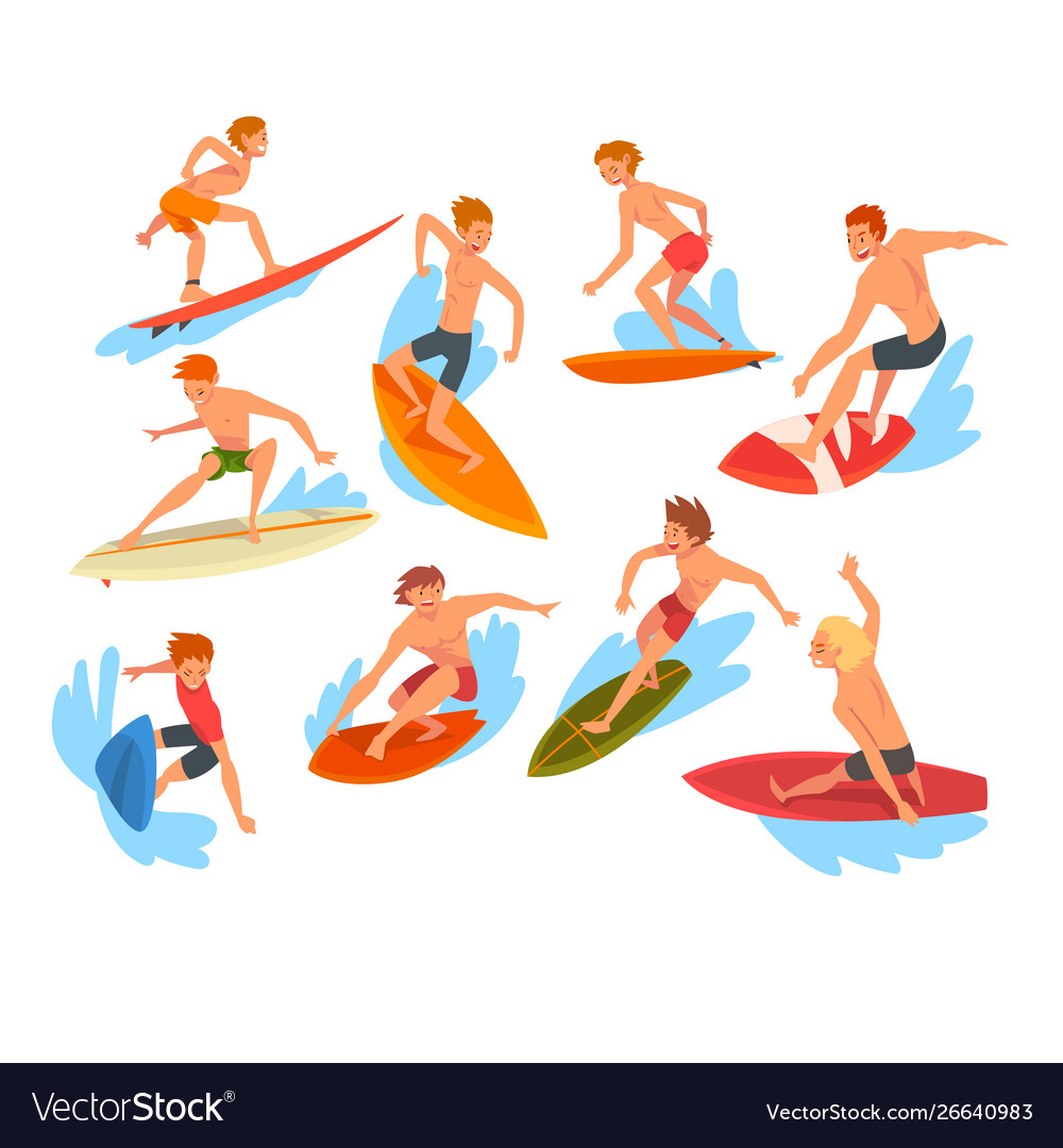 Male surfers characters riding waves set