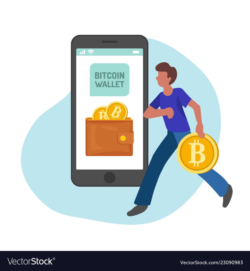 Man managing gold bitcoins in smartphone app flat