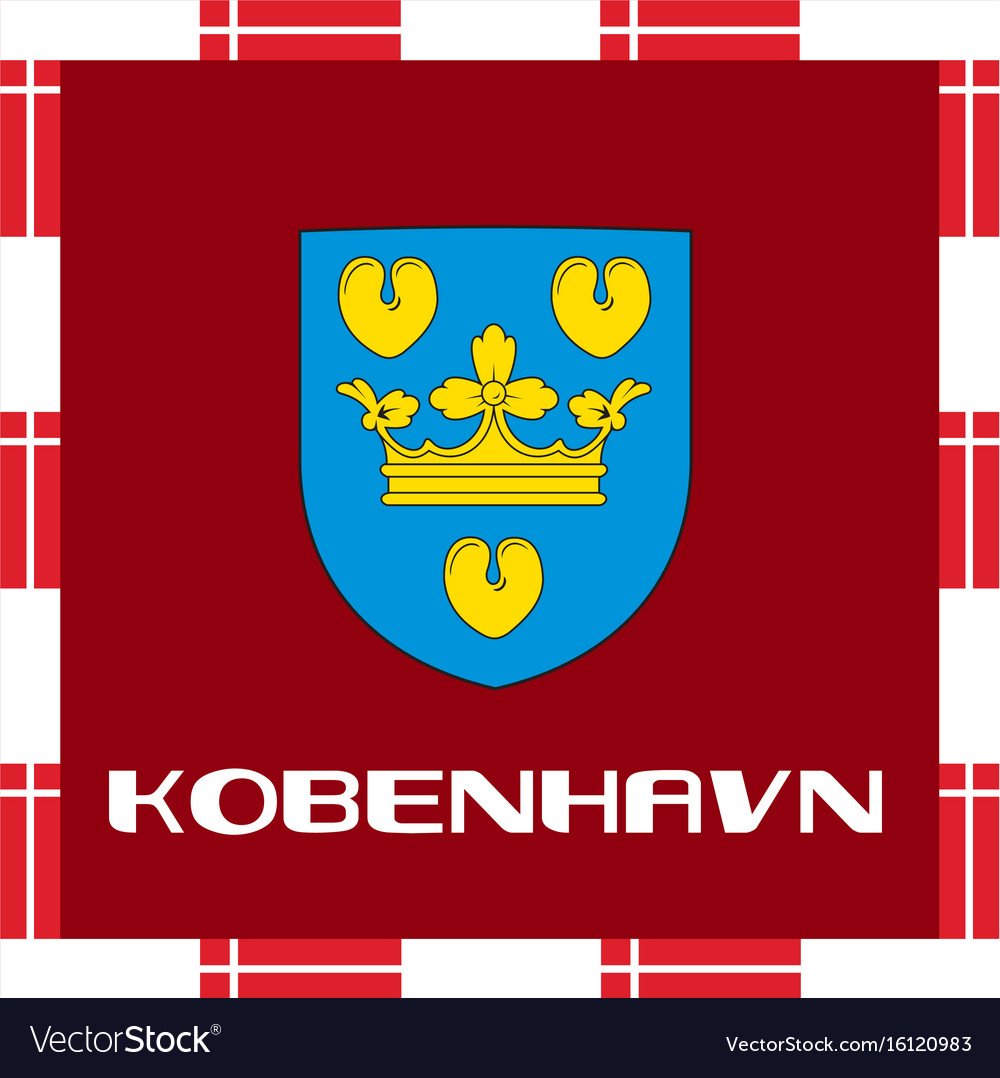 National ensigns of denmark - copenhagen vector image