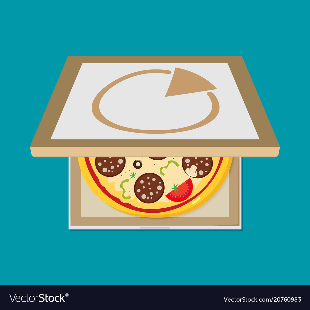 Open pizza box flat style design