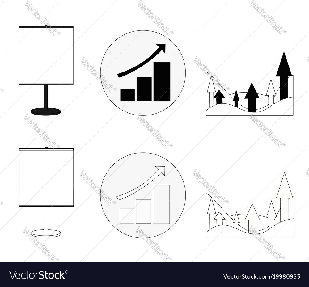 Set of graphs showing growth business in black