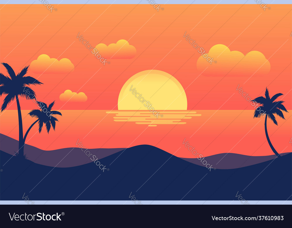 Sunset tropical beach with palm trees and sea for