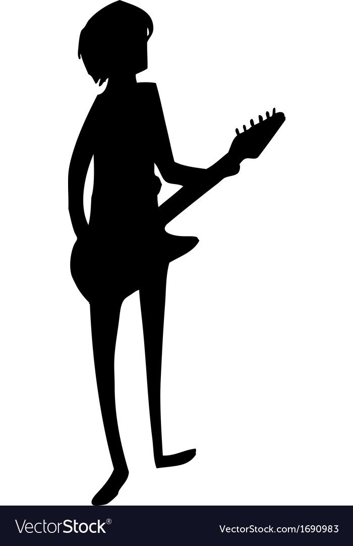 The black silhouette of a guitarist vector image