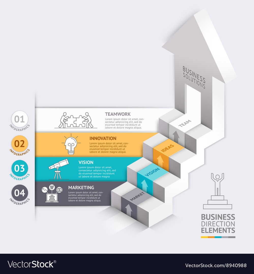 3d business arrows staircase diagram template vector image