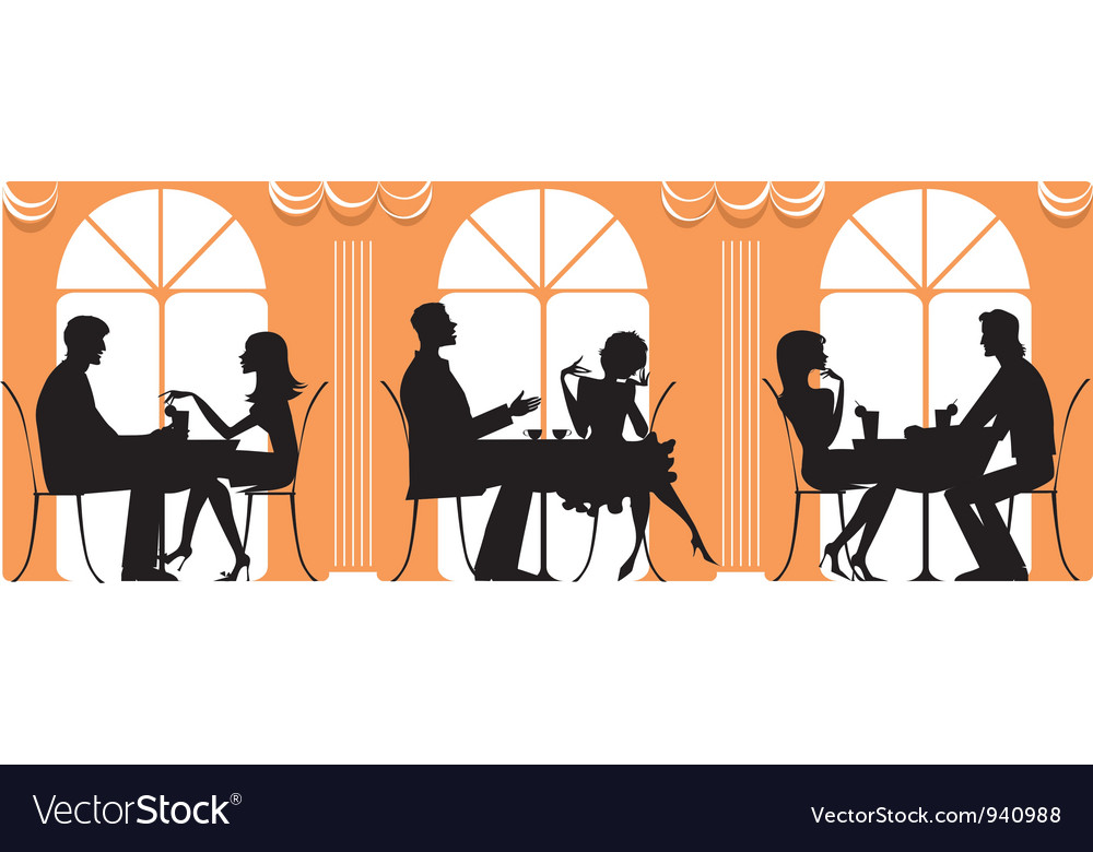 At Restaurant vector image