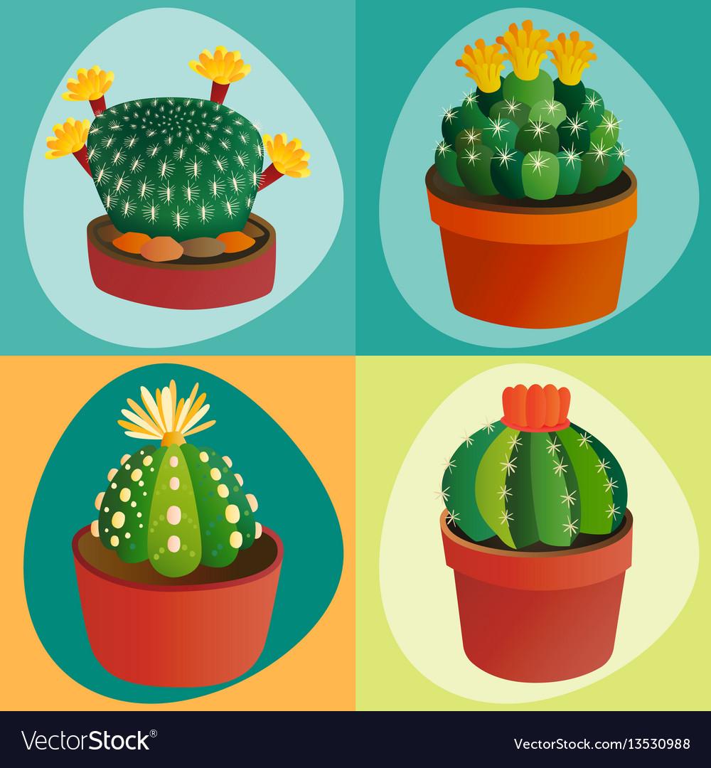 Cactus flat style nature desert flower green