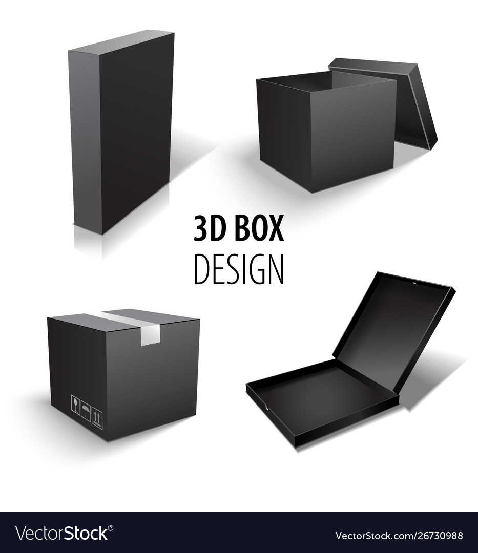 Carton packaging 3d black box set delivery set of