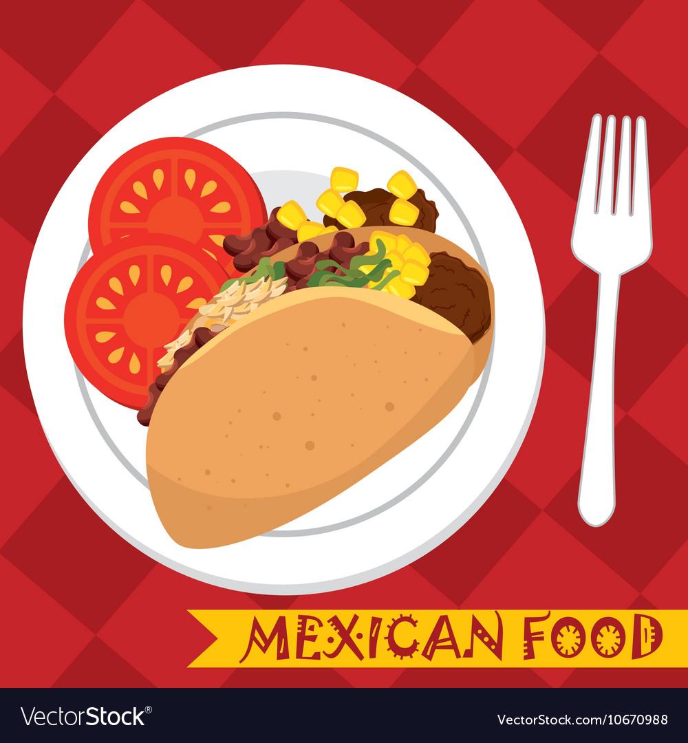 Cartoon food mexico design isolated