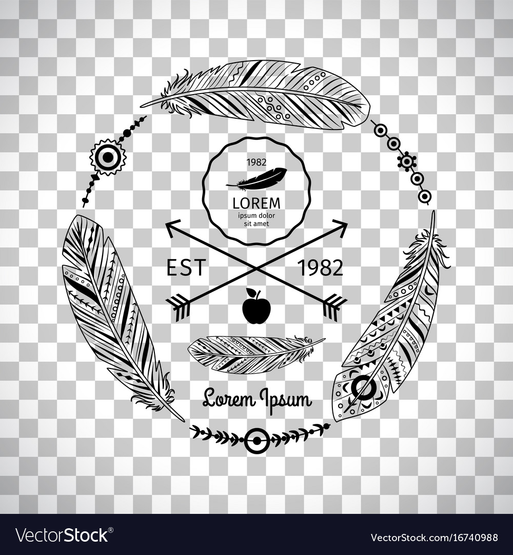 Ethnic feathers label on transparent background vector image