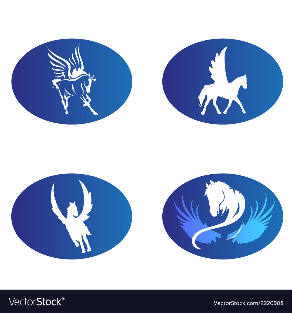 Horse wings logo symbol vector image
