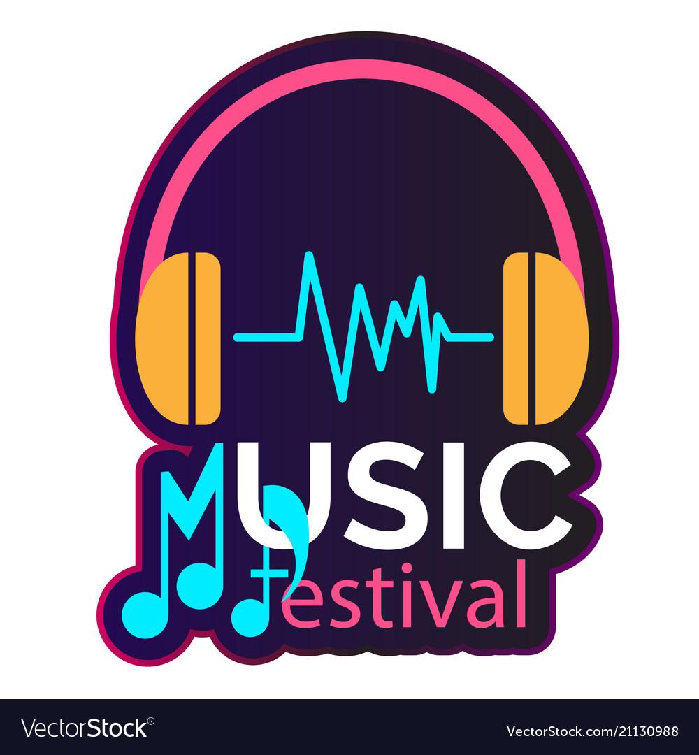Neon music festival headphone background im