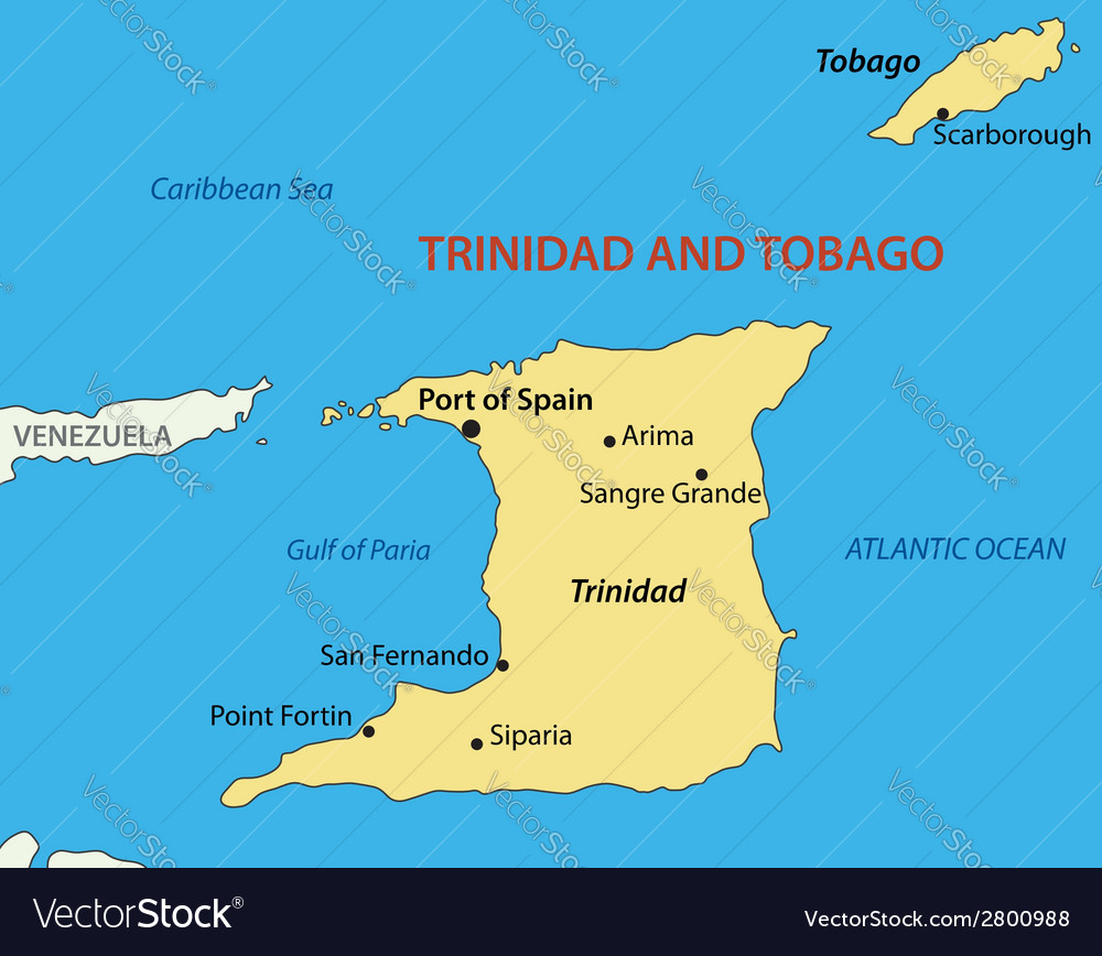 Trinidad And Tobago Map Republic of Trinidad and Tobago   map Royalty Free Vector Trinidad And Tobago Map