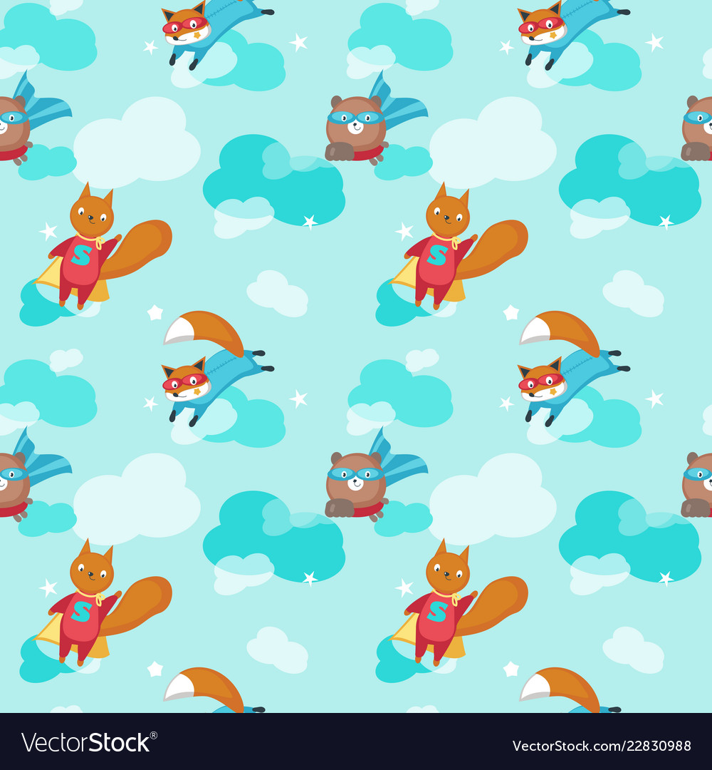 Seamless pattern with cute superhero