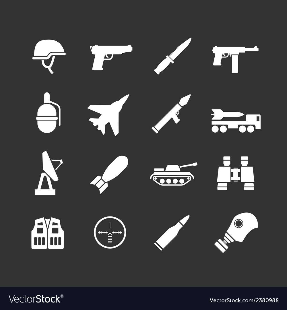 Set icons of army and military