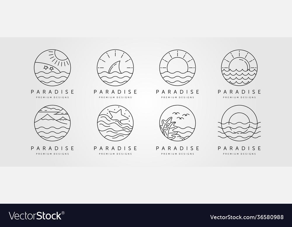 Set ocean line art logo minimalist design