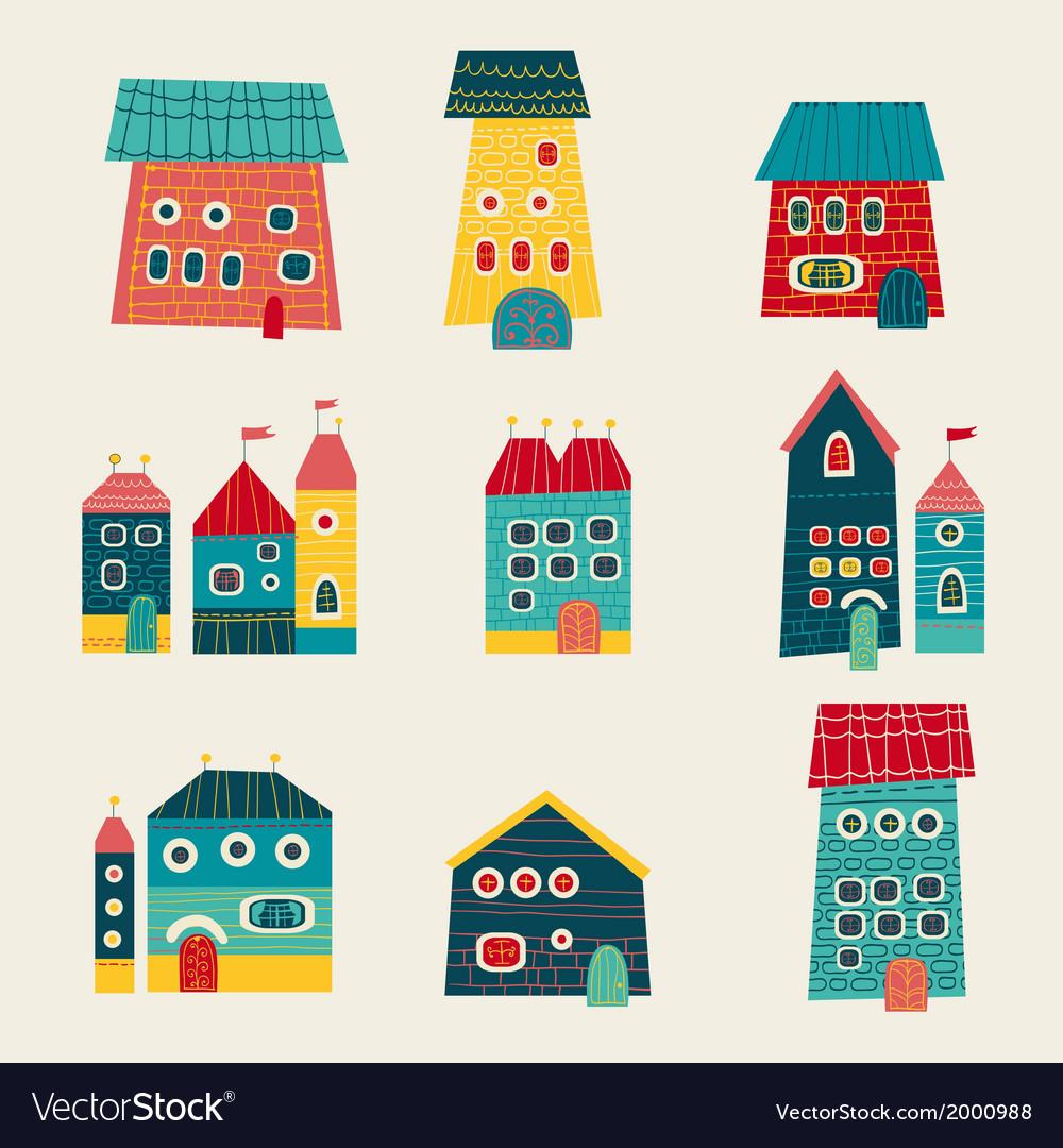 Set of cute houses hand drawn cartoon kids style